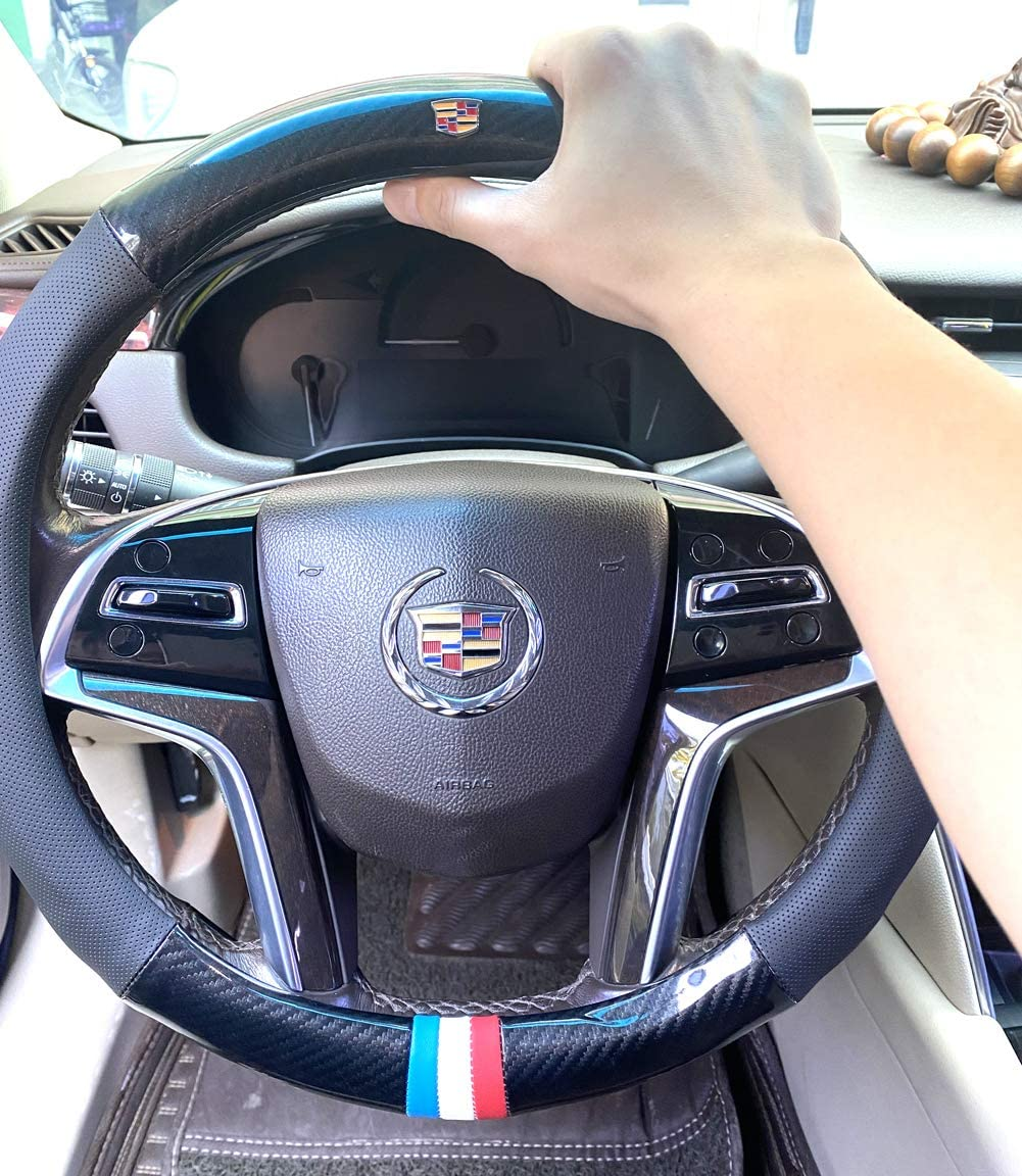 Carbon Fiber Leather Sport Car Steering Wheel Cover Sports Steering Wheel High-Grade Leather Set for Cadillac XT5 CT6 CT5 CTS ATS SLS Escalade Steering Wheel Cover