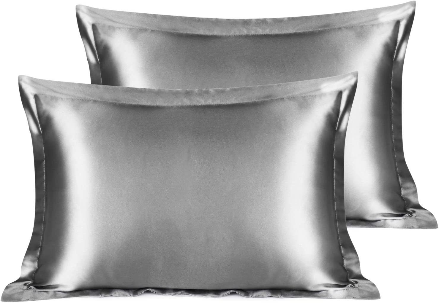 YANIBEST Satin Pillow Shams Set of 2 for Hair and Skin-Queen Size (20x30 inches) Pillow Cases-Super Soft Satin Pillowcase Covers with Envelope Closure,Grey