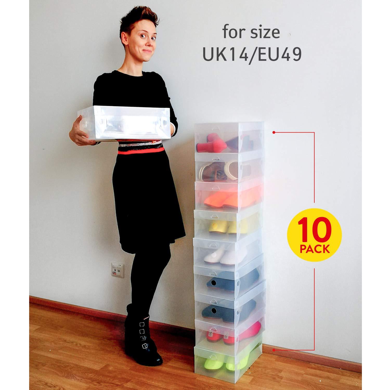 Tatkraft Glasgow 10 Scatole per Scarpe Trasparenti Pieghevoli UomoDonna in Plastica Solida a Coste