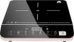 Easepot Electric Induction Cooker, 1800 Watt Sensor Touch Induction Cooktop with Safe System, Single Countertop Burner with 6 Pre-Programmed for Magnetic Cookwake