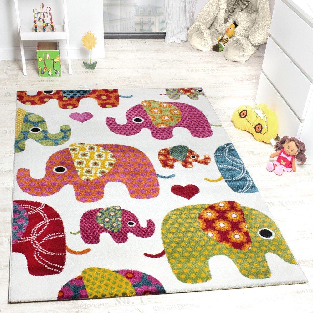 Fresh Kids' Rug - Elephant Design Multicoloured Creme Grey Pink, Size  MS84