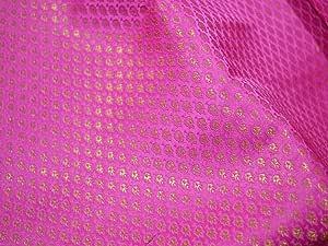 Brocado de satén rosa fucsia, vestido de novia indio, tela de ...