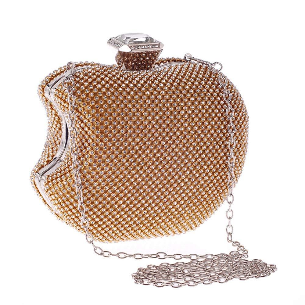 Xiaoqin Sac de soirée pour Femme Sac à Main Sac de Bal Sac Femmes Apple Forme Soirée Sac Banquet Parti Glitter Bag pour Filles Mariage Sac À Main avec La Chaîne D'épaule Sac (Color : Silver)