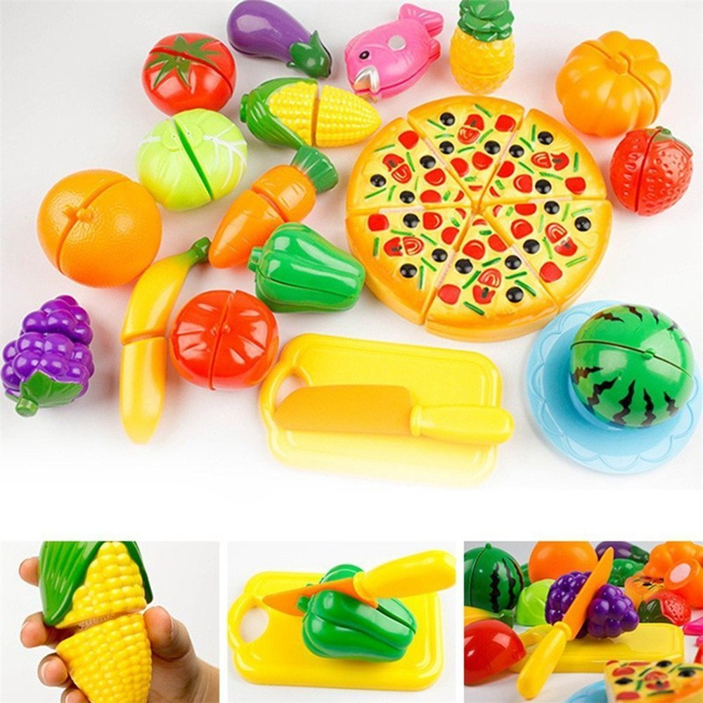 IVYRISE Toddlers Toys 24 Pieces Pretend Play Fruit Toys Cutting Plastic Fruit Vegetable Pizza Toys, Early Education Hand-eye Training Cutting Toys for Baby Kids Children