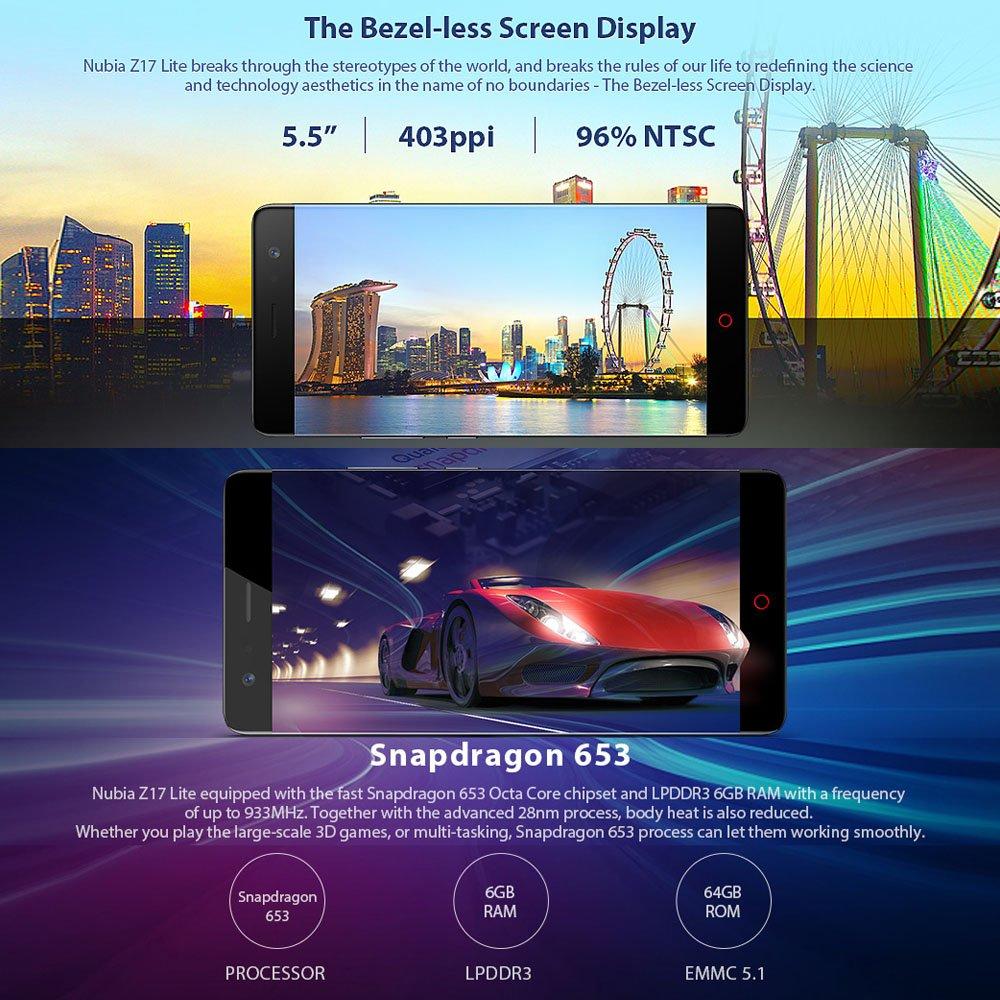 nubia Z17 Lite 5 5 Inch Bezel-less Smartphone 6GB 64GB: Amazon co uk