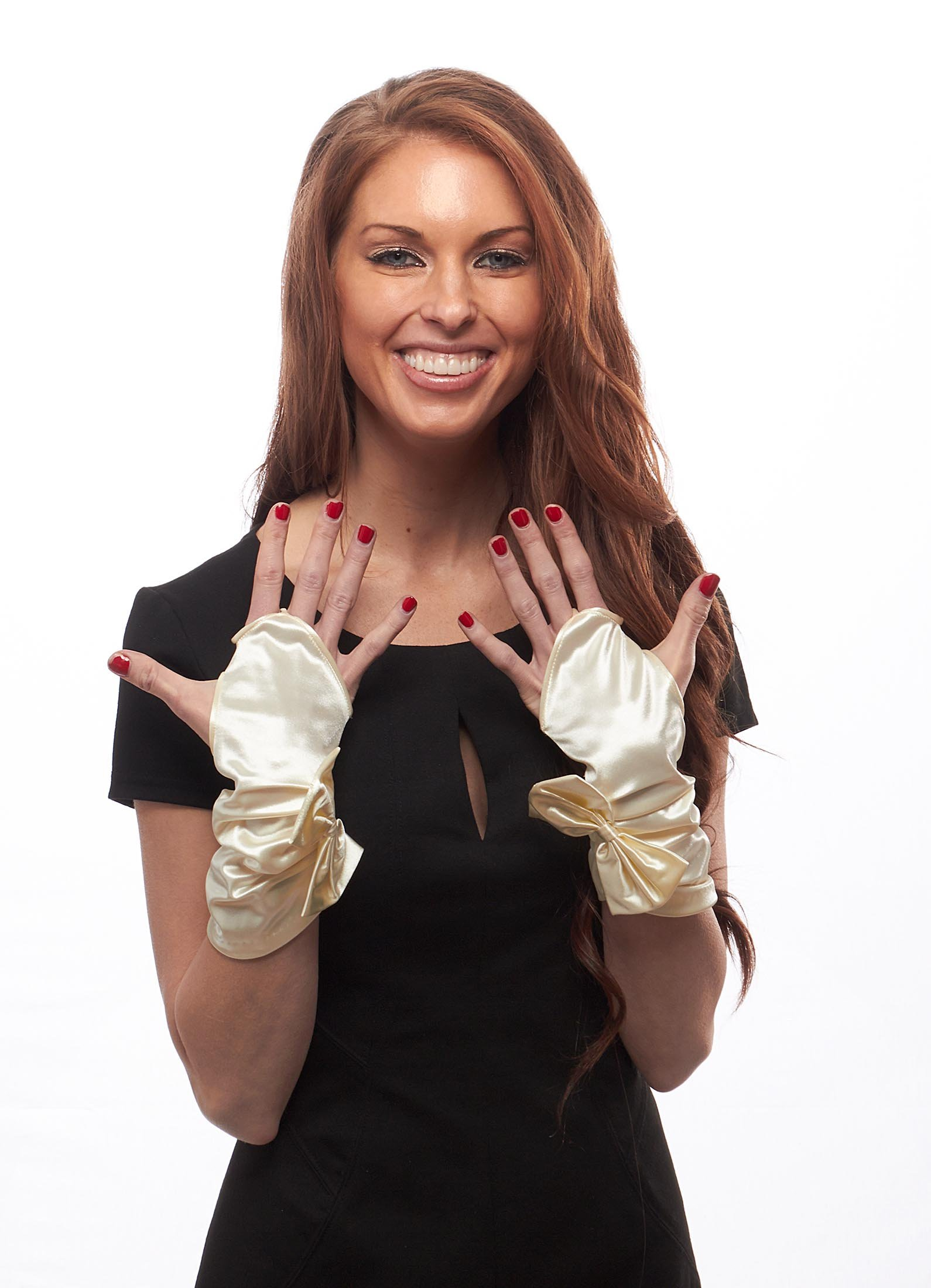 Sealed with a Bow Shiny Satin Fingerless Wrist Length Gloves (Ivory)