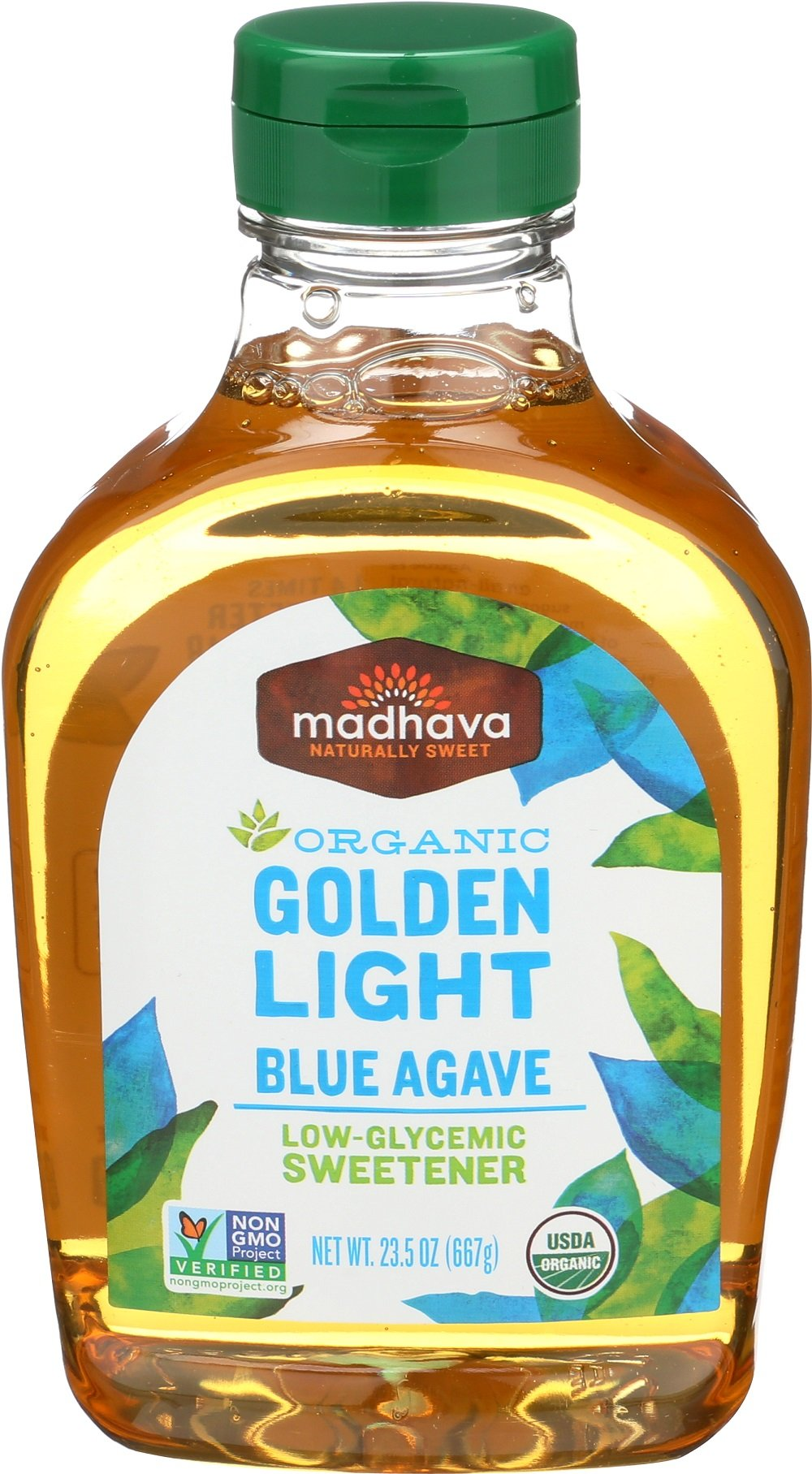 Madhava Naturally Sweet Organic Blue Agave Low-Glycemic Sweetener, Golden Light, 23.5 Ounce