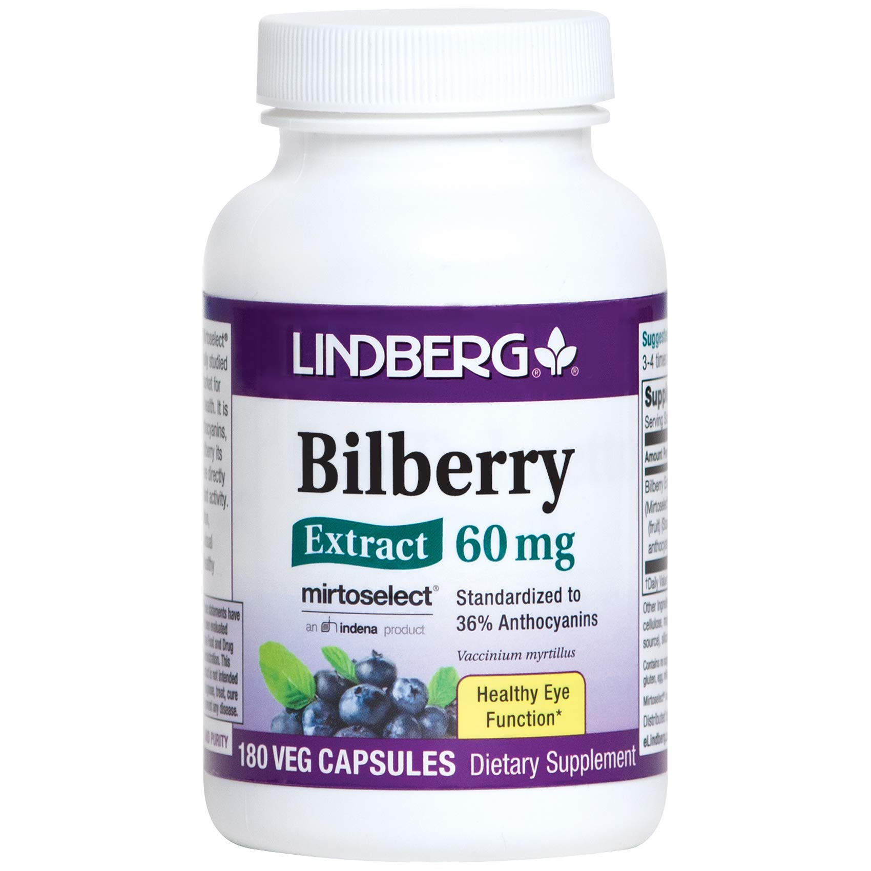 Lindberg Bilberry Extract 36% Anthocyanins (180 Vegetable Capsules)