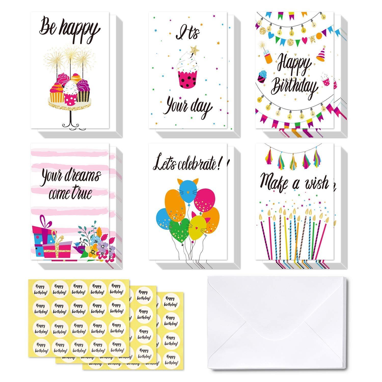 48 tarjetas de Feliz Cumpleaños Ohuhu. Tarjeta doblada ideal para cumpleaños de niños, tarjetas