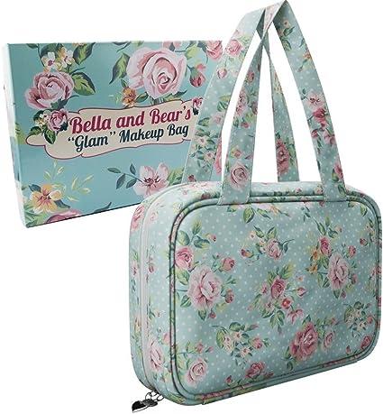 Bella & Bear «Glam» - Estuche para artículos de maquillaje, con 4 compartimentos con cremallera y asa Gran idea de regalo de Navidad para ella.: Amazon.es: Belleza