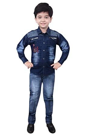 Arshia Fashions Boy's Shirt and Denim Set Boys' Shirts at amazon