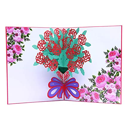 Amazon Flower Bouquet Pop Up Card 3d Greeting Cards With
