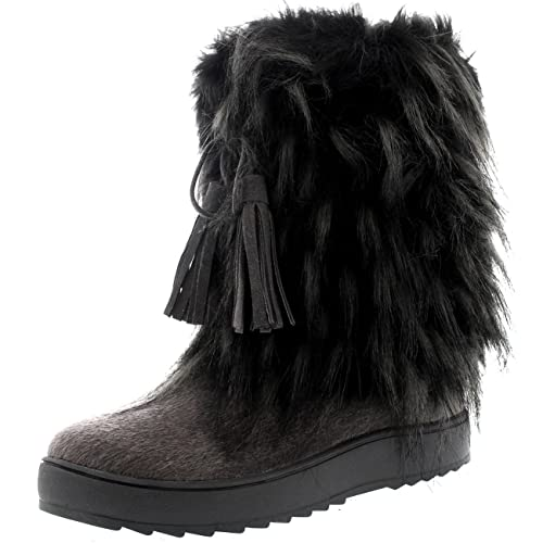 0eed97bddae Polar Womens Yeti Eskimo Snow Winter Waterproof Fashion Mid Calf Boots -  Grey - UK10