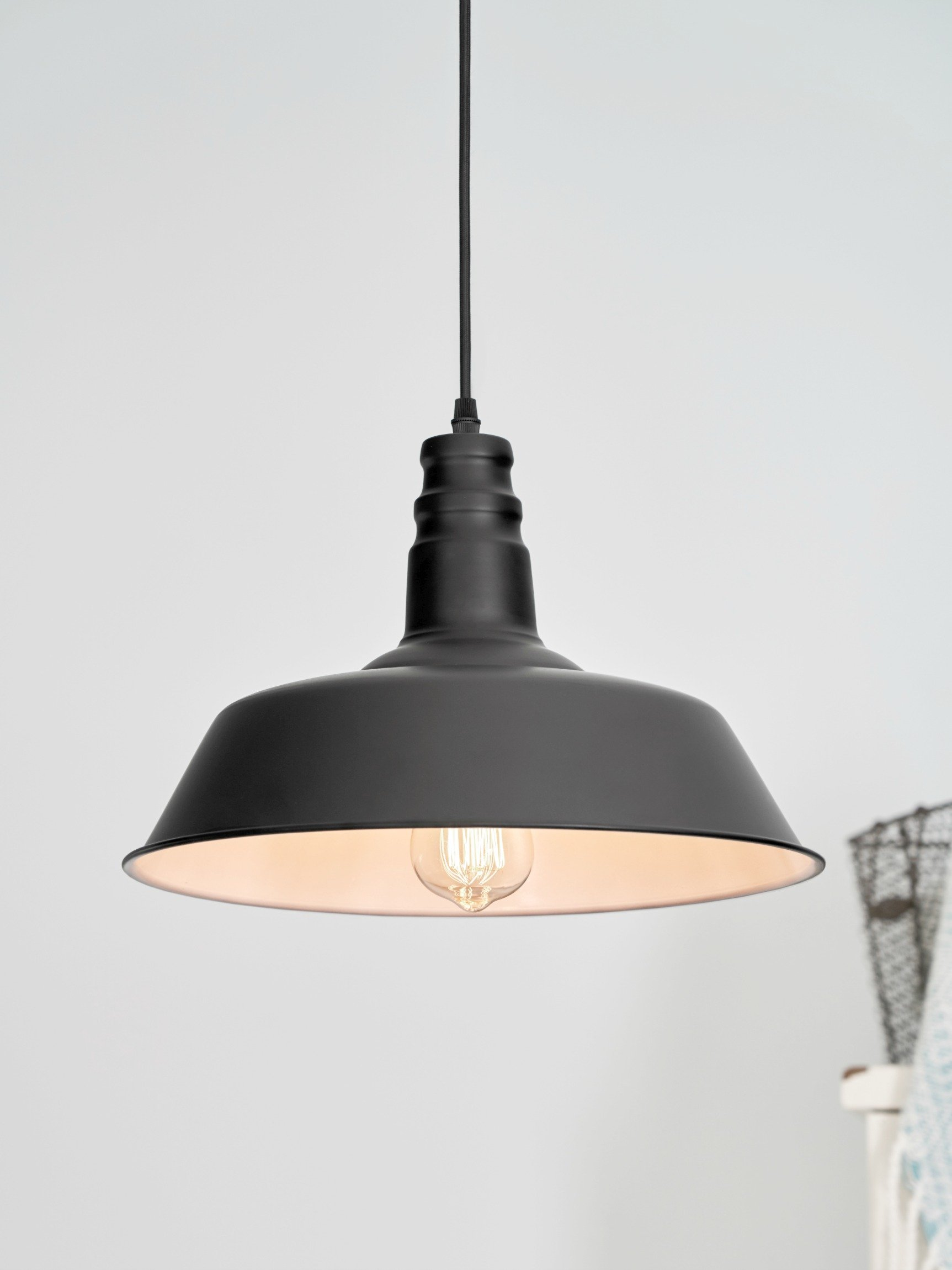 LightLady Studio - Farmhouse Lighting - Barn Pendant Light - 14'' Hanging Light Fixture - Great Fixtures for Kitchen Island Lighting Or Industrial Decor