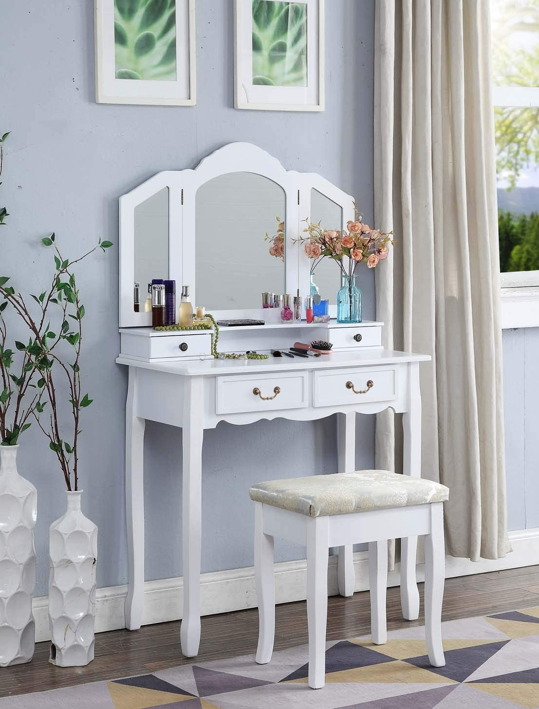 BITBIZ Vanity Set with 3 Mirror and Cushioned Makeup Vanity Stool 5 Drawers Make up Dressing Table White
