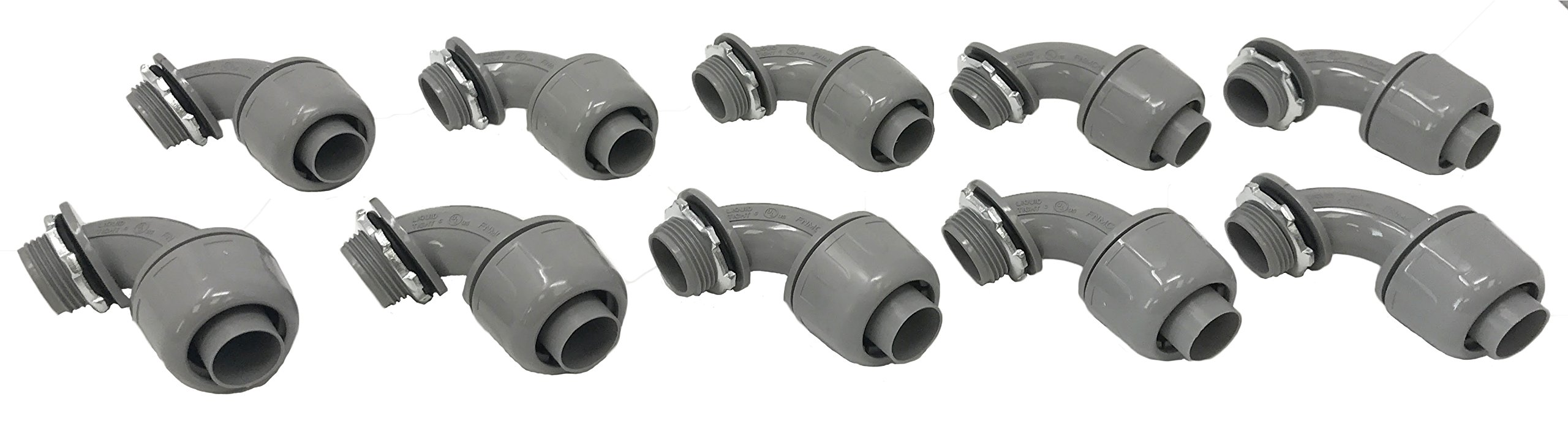 Sealproof 3/4-Inch 10 Pack Non-Metallic Liquid-Tight 90-Degree Conduit Connector Fitting, 3/4'' Dia 10-Pack
