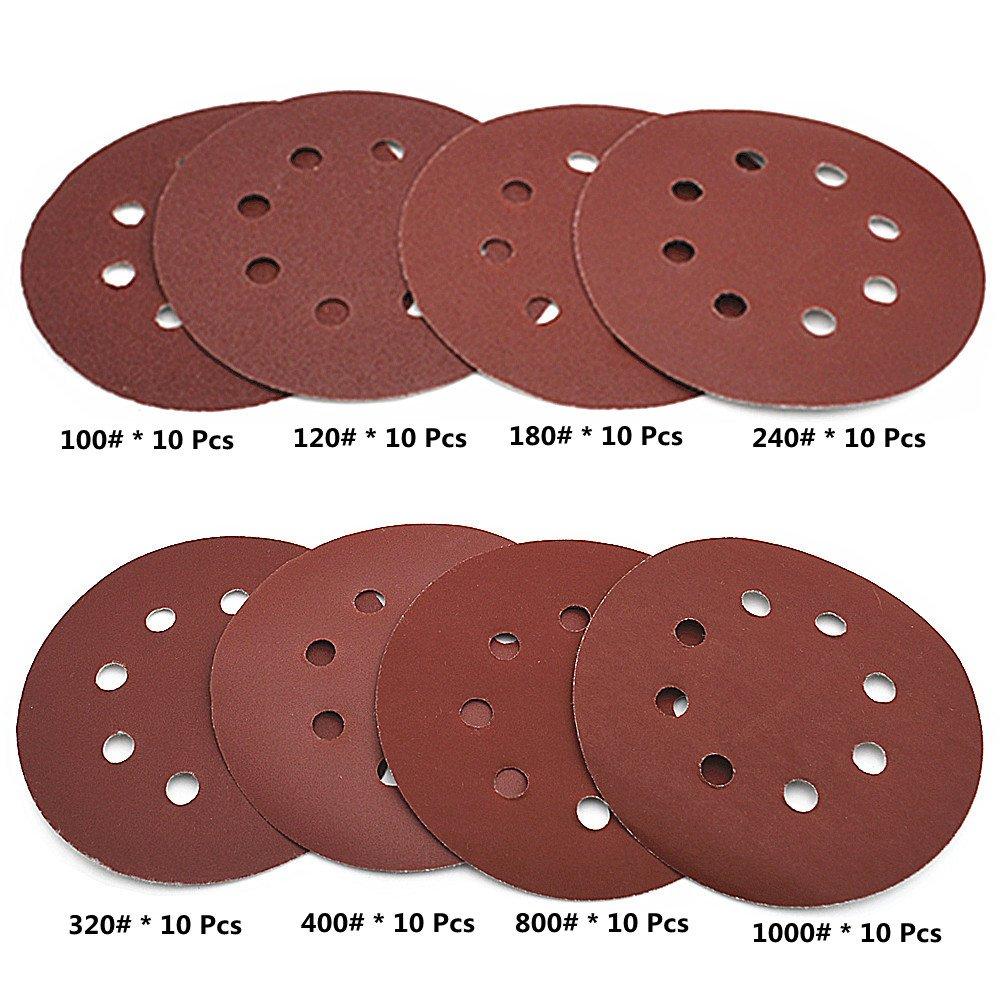 80 Pcs Abrasive Sanding Discs Paper Pads 5 Inch 8 Holes,1000//800//400//320//240//180//120//100 Grit Hoop and Loop Sandpapers for Random Orbital Sander