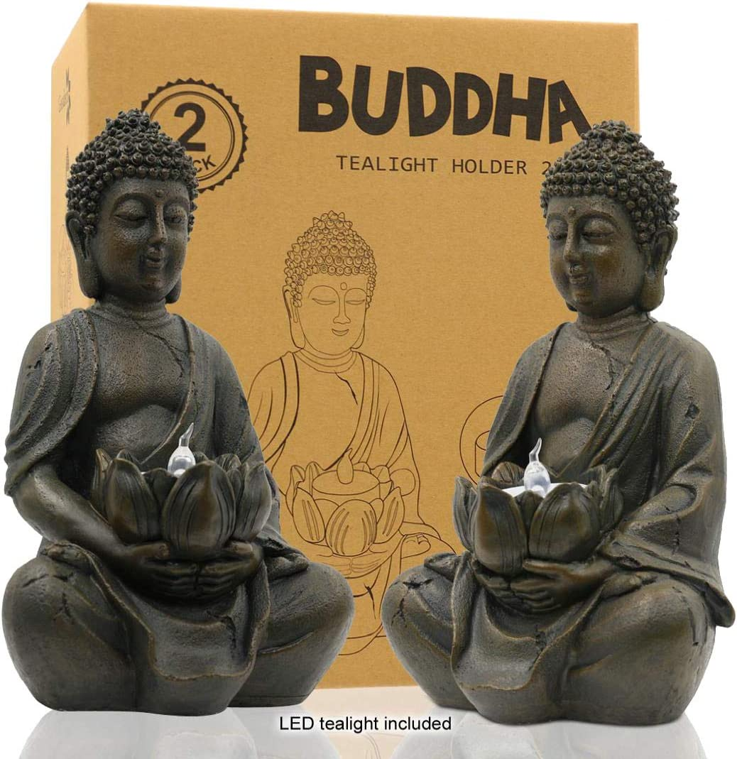 """Meditating Buddha Statue Figurine Sitting Sculpture Decoration 8"""" Tealight Holder/Candle Holder for Home, Garden, Patio with a LED Tea Light, Polyresin, Antique Bronze Look(2 Pack)"""