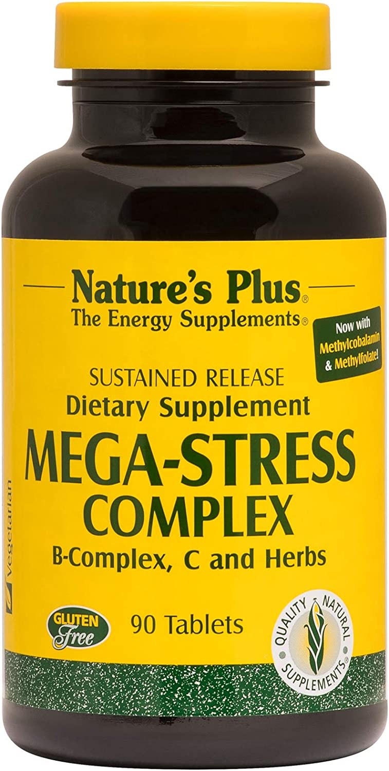 NaturesPlus Mega-Stress Complex, Sustained Release – 90 Vegetarian Tablets – B Complex, Vitamin C Stress Relief Supplement, Chamomile Herbs for Natural Calm – Gluten-Free – 90 Servings
