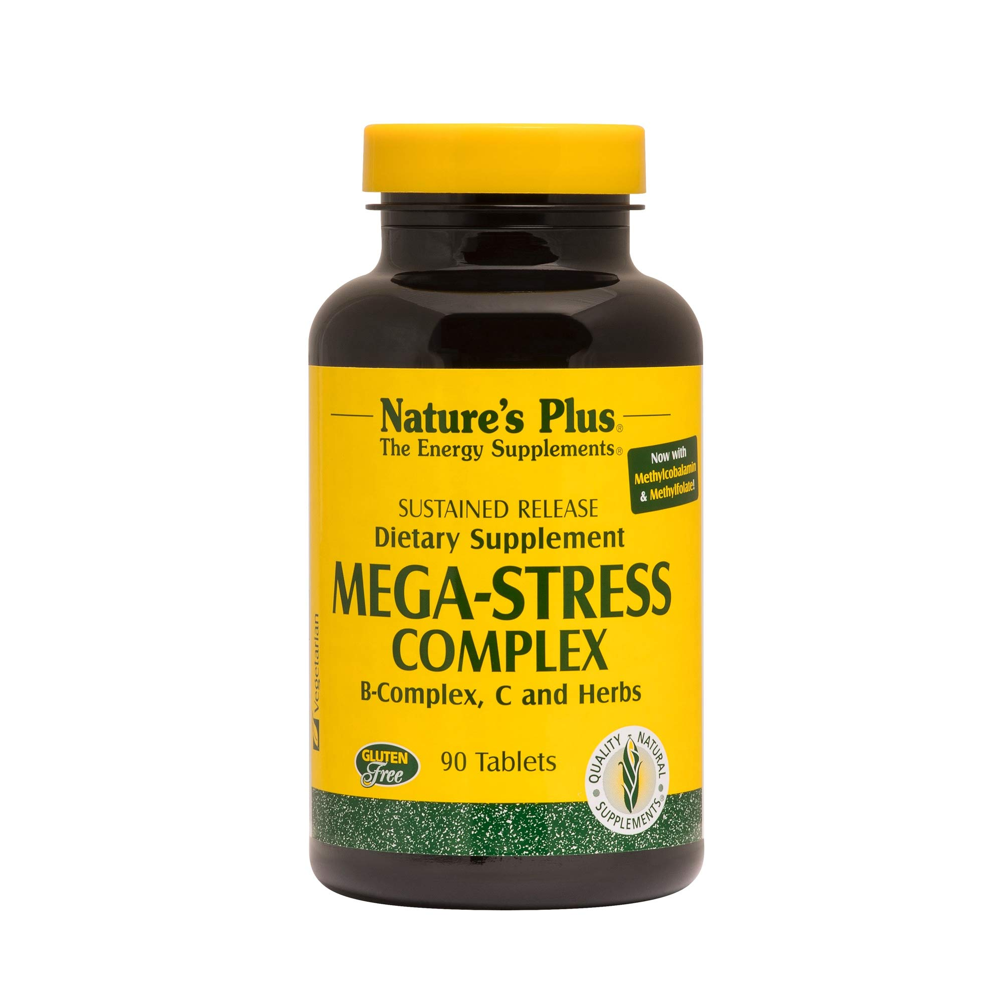 NaturesPlus Mega-Stress Complex, Sustained Release - 90 Vegetarian Tablets - B Complex, Vitamin C Stress Relief Supplement, Chamomile & Herbs for Natural Calm - Gluten-Free - 90 Servings by Nature's Plus