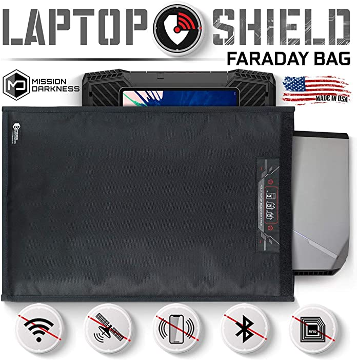 Mission Darkness Non-Window Faraday Bag for Laptops - Device Shielding for Law Enforcement, Military, Executive Privacy, EMP Protection, Travel & Data Security, Anti-Hacking & Anti-Tracking Assurance