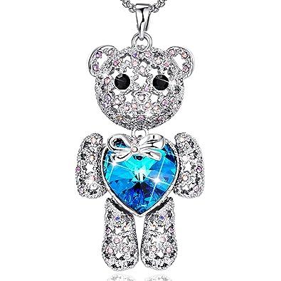 """ec04094a4 BONLAVIE Love Heart Pendant Necklace Sweater Long Chain 33"""" for Women  Austrian Crystal, ..."""