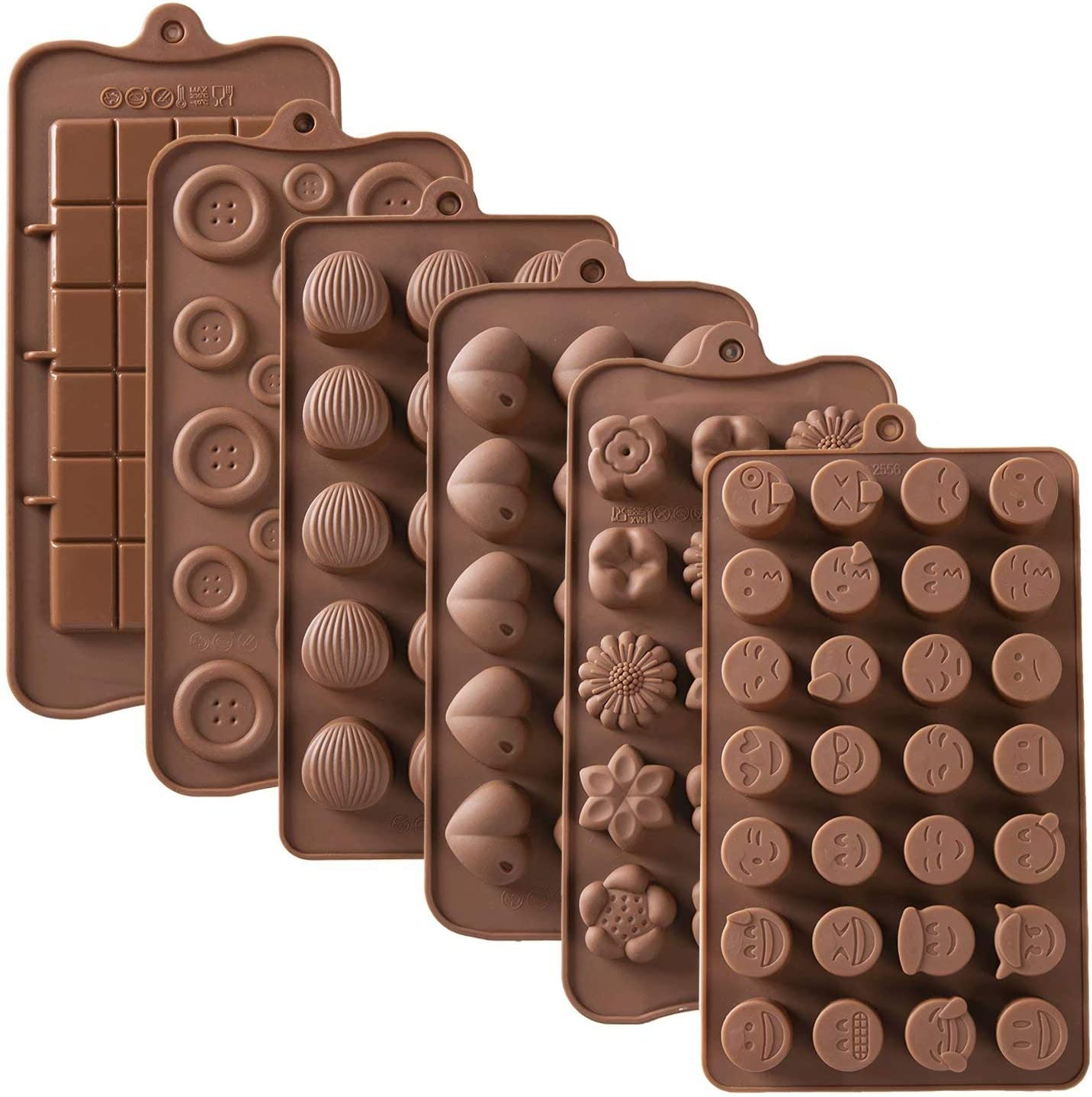 MType 6PCS Reusable Silicone Chocolate Molds, Food Grade Non-Stick Silicone Baking Trays for Break-Apart Chocolate, Candies-Hearts, Flowers, Buttons, Emojis, Rectangle, Shells Shapes in Brown Trays