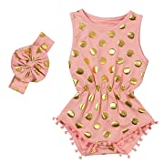Messy Code Baby Romper Onesies Girls Clothes Gold Dot Jumpsuits Headband Outfit Sleeveless Boutique Peach X-Small / 3-6Month
