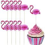 TecUnite 40 Pieces Flamingo Cupcake Toppers Cocktail Picks Flamingo Cake Decoration for Luau Hawaii Birthday Wedding Beach Party (Flamingo)