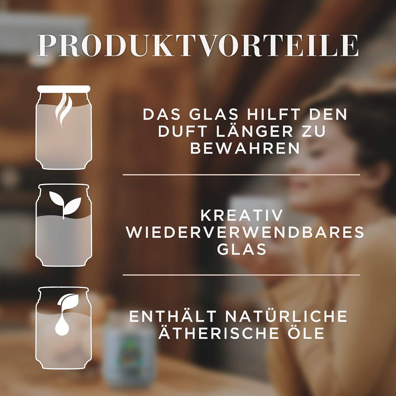 Air Wick Gro/ße Duftkerze im Glas 1 x Duftkerze im wiederverwendbaren Design-Glas Duft: Teakholz /& Meersalz Bis zu 85h Brenndauer Mit /ätherischen /Ölen