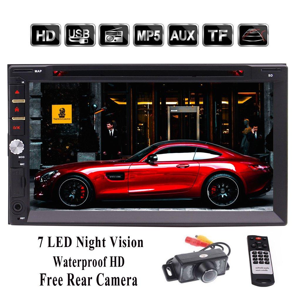 ダッシュカーステレオDVD CDのMP4 MP3プレーヤーラジオ1080PビデオオーディオのBluetooth 7インチのタッチスクリーンSD、USB、ラジオ、FM/AM/RDS無料リアカメラワイヤレスリモートでWincCarウィンスT9227ダブルDIN HD B07BWDBDX2