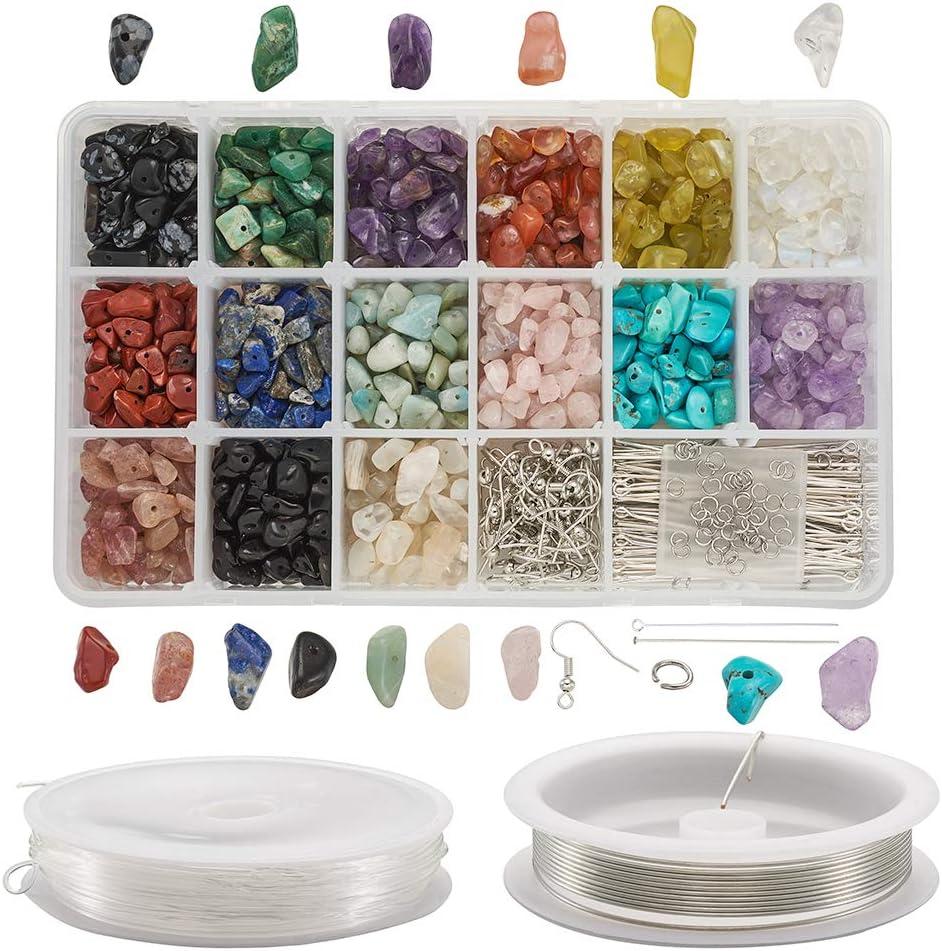 PandaHall 1102 cuentas de piedras preciosas naturales que incluyen ganchos para pendientes y pasadores para los ojos, alfileres de cabeza y anillo de salto, alambre de cobre e hilo de cristal elástico