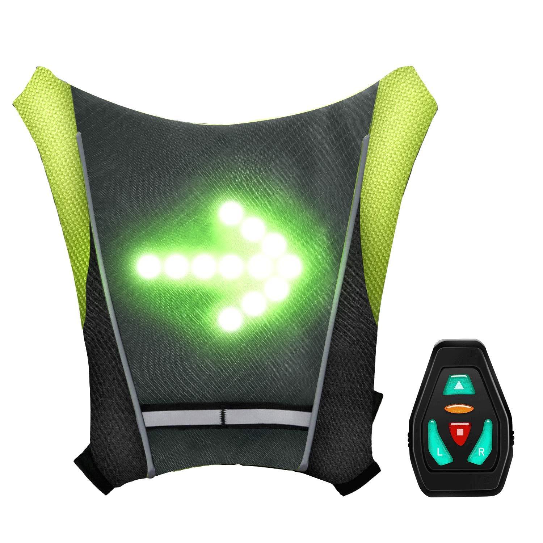 shenkey Chaleco de se/ñal de giro LED USB recargable Chaleco reflectante LED con indicador de direcci/ón: control remoto f/ácil instalaci/ón para ciclismo Luz de advertencia luces de giro