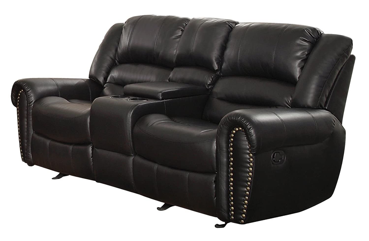 Amazon.com: Homelegance 9668BLK 2 Double Glider Reclining Loveseat With  Center Console, Black Bonded Leather: Kitchen U0026 Dining