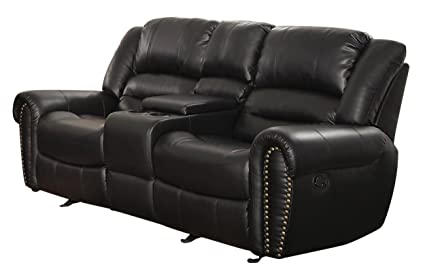 Amazoncom Homelegance 9668blk 2 Double Glider Reclining Loveseat