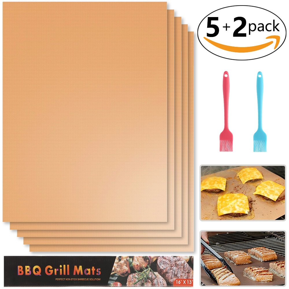 Large Grill Mat Set of 5, HEMRLY Non Stick Grill Mats Reusable Heat Resistance Baking Mats - Dishwasher Safe, FDA Approved, Safe for Gas, Charcoal, Electric Grill - 16'' x 13'' with brush