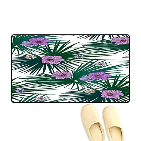 b6d78feacf561 Amazon.com: doormatFloral Seamless Pattern with Flowers and Palm ...