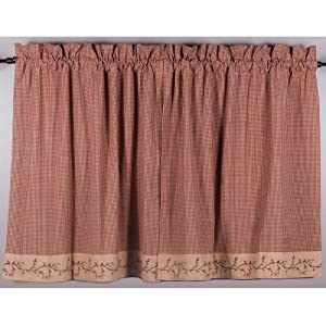 Primitive Home Decors Berry Vine Gingham 36 Inch Curtain Tiers - Barn Red