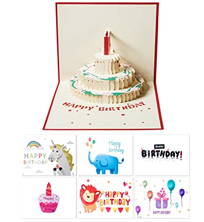 Happy Birthday Cards 7 Pack Greeting 6 Different Designs Wishes