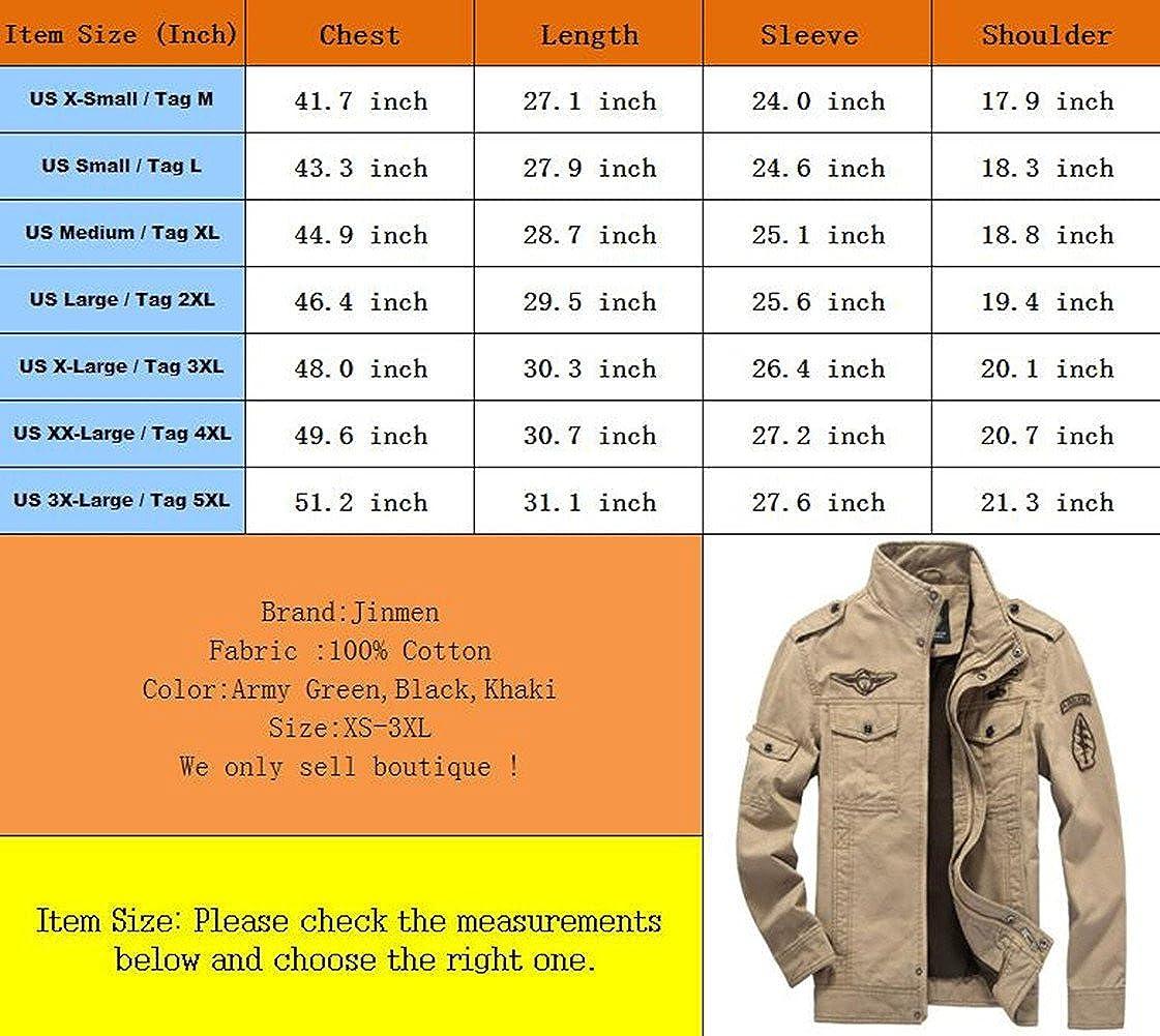 Jinmen Mens Fashion Cotton Jackets Military Air Force Bomber Jackets