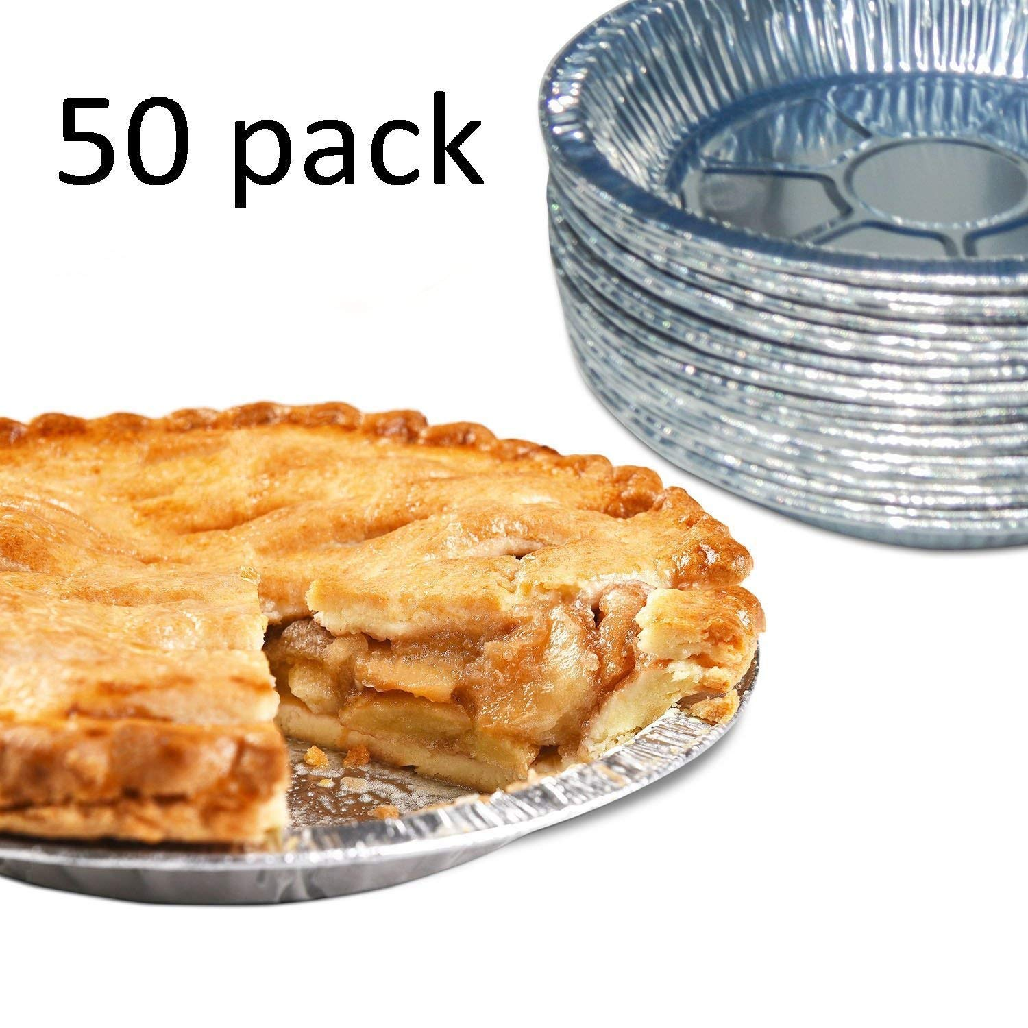 9'' Round Pie Pans (50 Pack) Disposable Aluminum Foil Pie Plates with Board lid, Standard Size, 9'' x 1.25'' by Orangehome (Image #3)