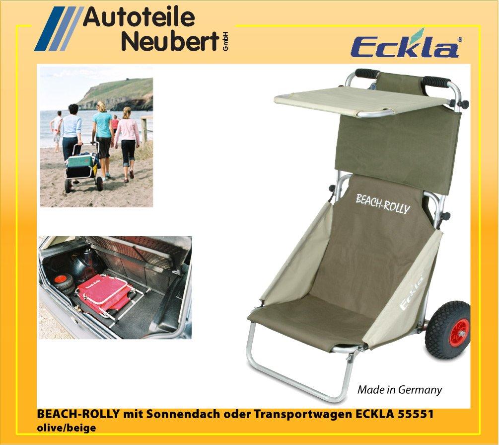 Eckla Beach Rolly mit Sonnendach / Farbe: oliv/beige / Länge: 70 cm / Breite: 68 cm / Höhe: 110 cm / Gewicht: 5,2 kg