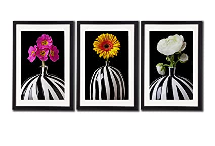 Amazon Daisy Flowers Zebra Stripes Vase Posters For Wall Art