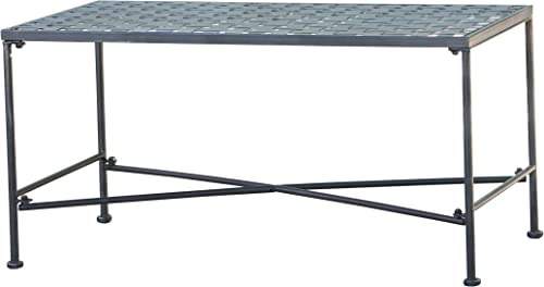 Christopher Knight Home Petra Iron Coffee Table, Black Brush Silver