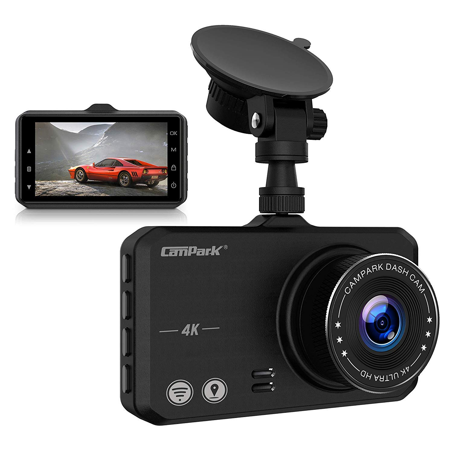 Campark 4K Dash Cam with Wifi GPS Dashboard Camera Recorder for Cars with Ultra HD 2160P 3'' IPS Screen 170° Wide Lens Loop Recording G-Sensor Parking Monitor and Super Night Vision by Campark