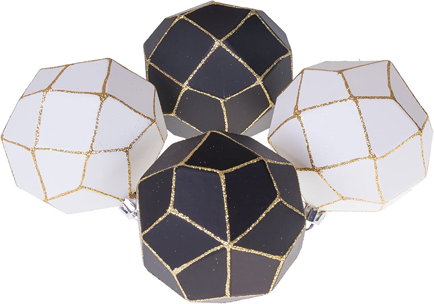 Clever Creations Christmas Ornament Ball Set Black and White with Gold Glitter | 4 Pack | Festive Holiday Décor | Geometric Sphere| Classic Design | Shatter Resistant | Hangers Included | 75mm