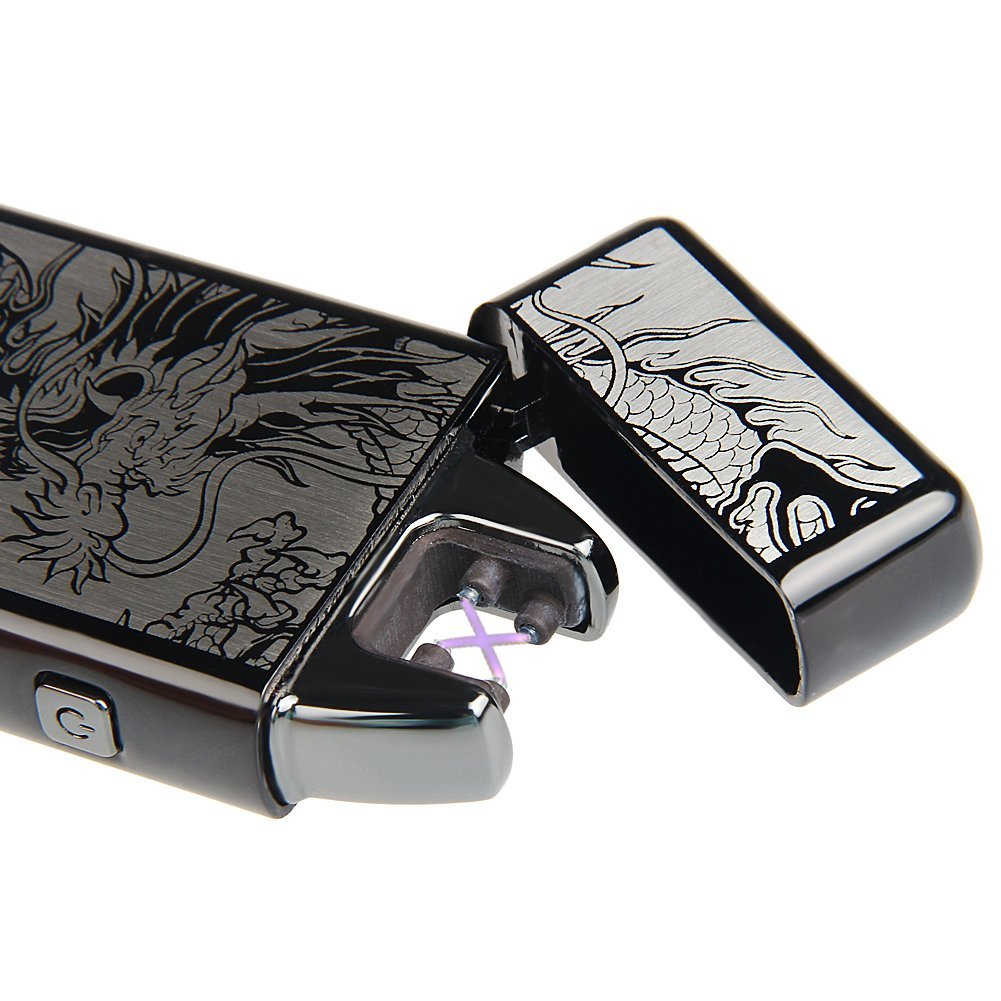 Kivors USB Rechargeable Windproof Flameless Electronic Double Pulse Arc Cigarette Lighter Belief Chinese Dragon Lighter by Kivors (Image #8)