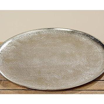 Deko Tablett Serviertablett Phönix In Silber Aus Aluminium Rund ø