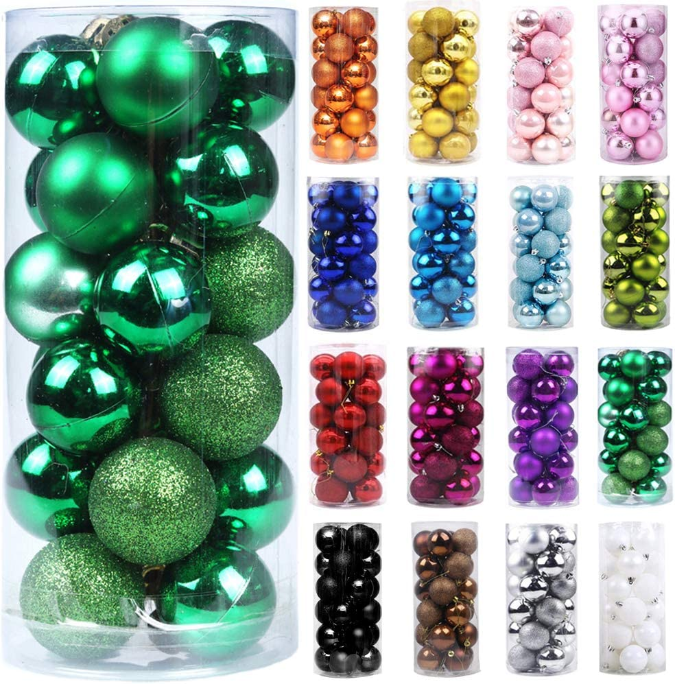 "Emopeak 24Pcs Christmas Balls Ornaments for Xmas Christmas Tree - Shatterproof Christmas Tree Decorations Hanging Ball for Holiday Wedding Party Decoration (Grass Green, 2.5""-6.2CM)"