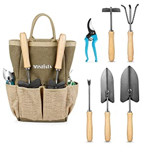 MOSFiATA Garden Tools Set, 12 Pieces Gardening Tools Ergonomic Oak Handle and Heavy Duty Hoe Rake Trowel Transplanter Weeder Professional Pruner Sprayer Rope Kit with Organizer Bag for Kids Women Men